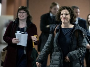 File photo of Côte-des-Neiges—Notre-Dame-de-Grâce Mayor Sue Montgomery (right) and her chief of staff, Annalisa Harris, in the Montreal Courthouse on March 10, 2020.