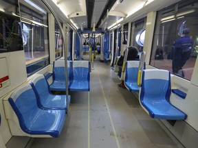 A near-empty Metro car leaving the Angrignon station in Montreal Monday March 16, 2020. (John Mahoney / MONTREAL GAZETTE)