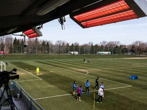 Montreal Impact players practise at Centre Nutrilait on April 25, 2017. Montreal's public-health authority has denied the club permission to reopen its training facility for individual player workouts.