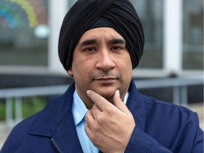 Dr. Sanjeet Singh-Saluja, a Sikh doctor who shaved his beard in order to treat COVID-19 patients at the Montreal General Hospital, on Monday May 4, 2020.