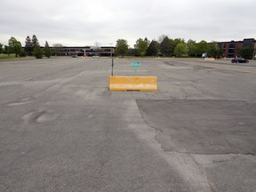 The parking lot at Cité-des-Jeunes high school in Vaudreuil-Dorion on Monday May 25, 2020. The lot will be turned into a drive-in theatre for the summer.