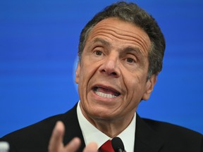 Governor of New York Andrew Cuomo speaks during a press conference at the New York Stock Exchange (NYSE) on May 26, 2020 at Wall Street in New York City.