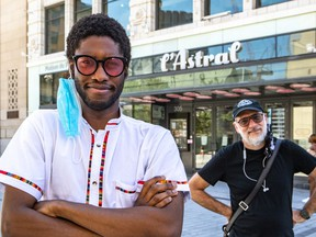 Clerel (left) and Laurent Saulnier, Montreal International Jazz Festival VP programming, outside the Astral Building in Montreal, where online performances were recorded.