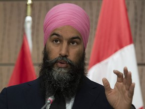 NDP leader Jagmeet Singh responds to question from the media during a news conference Wednesday June 3, 2020 in Ottawa.
