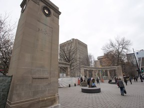 The Roddick Gates are monumental gates that serve as the main entrance to the McGill University campus are seen on November 14, 2017 in Montreal. Canada's universities are bracing for an influx of students next month from the United States, where the worsening COVID-19 pandemic is setting fresh records every day for new infections and deaths.
