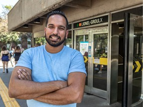Naveed Hussain is seen at the Lionel-Groulx métro station in Montreal on Saturday, Aug. 15, 2020. Hussain started a petition to have the station renamed after jazz pianist Oscar Peterson.