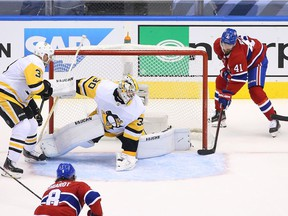 Canadiens' Paul Byron scored the tying goal in the second period on a wraparound effort that beat Penguins goalie Matt Murray Wednesday night at Scotiabank Arena.