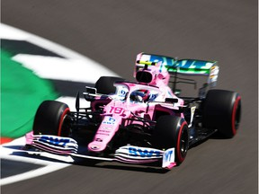 Montrealer Lance Stroll drives a Racing Point RP20 Mercedes on track during practice for the F1 70th Anniversary Grand Prix at Silverstone on Aug. 7, 2020, in Northampton, England.