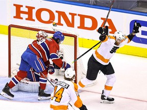 Jakub Voracek #93 of the Philadelphia Flyers scores a goal at 5:21 past Carey Price #31 of the Montreal Canadiens during the first period in Game 3 of the Eastern Conference First Round during the 2020 NHL Stanley Cup Playoffs at Scotiabank Arena on August 16, 2020 in Toronto.