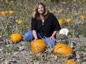 """""""Thanksgiving is not a big time for pumpkin sales,"""" says Nathalie Gervais, in the pumpkin patch at her Verger Labonté in Notre-Dame-de-l'Île-Perrot, west of Montreal Friday Sept. 25, 2020."""