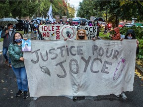 A vigil and rally was held in honour of Joyce Echaquan in St-Charles-Borromée on Sept. 29, 2020.