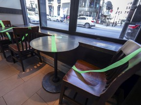 Taped-off tables at a Starbucks café on Peel St. downtown. As office workers stay home, demand for restaurants, retailers and other businesses in the central core plummets.