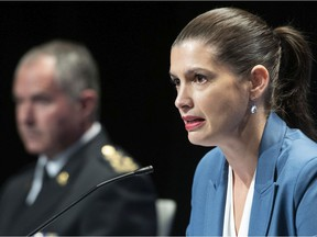 Quebec Deputy Premier and Public Security Minister Geneviève Guilbault during a news conference on the COVID-19 pandemic, Friday, Sept. 18, 2020 in Quebec City.