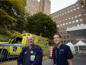 McGill University Health Centre emergency room nurse Mike Richardson, left, and MUHC emergency room physician Zachary Levine outside the Montreal General Hospital. Both are consultants on the  Canadian medical drama Transplant.