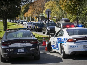 Traffic inches along on Remembrance road on Oct. 12, 2020. Police were restricting access to parking to prevent overcrowding at the park.