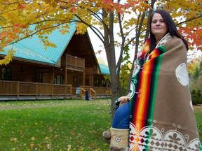 Lisa Chevarie, a Mi'kmaq archeological technician at Metepenagiag Heritage Park, outside Red Bank Lodge.