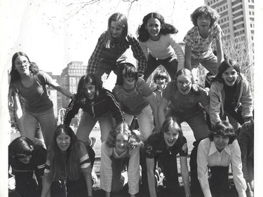 Kamala Harris is top-centre in a human pyramid of FACES students. The picture was taken on McGill Campus in 1978. Top L-R: Cindy Garmaise, Harris, Kimberley MacKenzie. In the middle row, far right, is Vicky Compton. In the background, just below Harris, is Nicholas Simons.