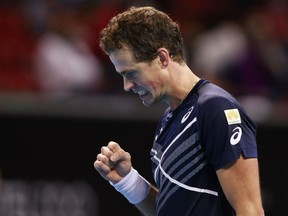 Canada's Vasek Pospisil reacts during the final match against Italy's Jannik Sinner at the Sofia Open in Sofia, Bulgaria, on Saturday, Nov. 14, 2020.
