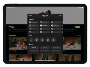 Fitness+ features 10 exercise options, five choices of duration and 21 trainers. You can also select your preference of music. The idea is to mix and match until you find a workout that suits your mood.