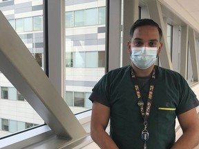 """""""You are always looking, first and foremost, at caring for a patient,"""" said McGill University Health Centre nurse Naveed Hussain."""