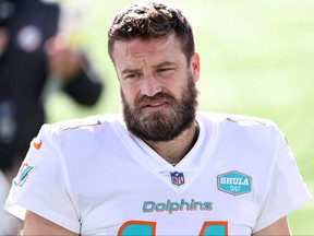 Ryan Fitzpatrick of the Miami Dolphins warms up prior to their game against the New York Jets at MetLife Stadium on Nov. 29, 2020, in East Rutherford, N.J.
