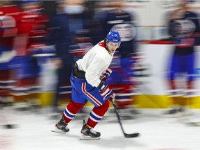 Josh Anderson skates in a drill during Canadiens' training camp practice at the Bell Sports Complex in Brossard on Tuesday.