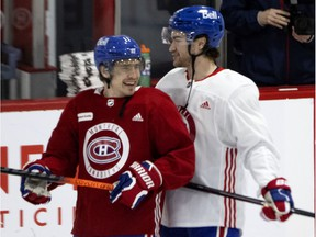 Canadiens right-winger Brendan Gallagher, left, and left-winger Jonathan Drouin were enjoying themselves during the last day of training camp in Brossard on Tuesday.