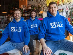 The three founders, Eric Haniak, Olivier Eydt and Roberto Casoli, left to right, of the start-up CHK PLZ, an app that helps people order restaurant deliveries online.
