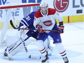Josh Anderson of the Montreal Canadiens skates in front of Frederik Andersen of the Toronto Maple Leafs at Scotiabank Arena in Toronto on Jan. 13, 2021.