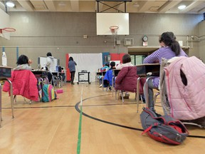 A view of 1st grade students in the gym at Yung Wing School P.S. 124 on January 13, 2021 in New York City. New York City Public Schools continue to adapt learning environments during the COVID-19 pandemic.