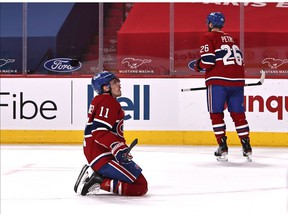 Canadiens forward Brendan Gallagher reacts after the Calgary's Mikael Backlund scored an empty-net goal to clinch a 2-0 win for the Flames Saturday night at the Bell Centre.