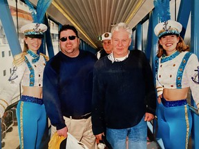 Skip Snair, front, with friend and former radio colleague Terry DiMonte on a cruise ship some two decades ago. Snair died suddenly last week at 77.