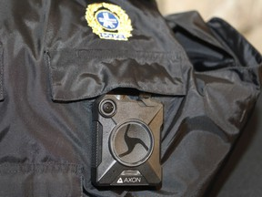 """A body camera on a police vest is photographed during the launch of a pilot project on May 18, 2016 at City Hall. """"At a time when viral cellphone videos of police violence draw much attention on social media, the promise of more footage of police interactions has an obvious appeal. Sadly, research on body cams does not support these hopes,"""" Justin Doucet and Ted Rutland write."""