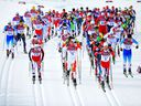 Sjur Roethe of Norway, Alex Harvey of Canada and Martin Johnsrud Sundby of Norway lead the pack in the Men's Skiathlon 15 km Classic and 15 km Free at the 2014 Winter Olympics in Sochi, Russia. A study of elite athletes suggested endurance athletes — a category including cross-country skiers — had the greatest boost in life expectancy.