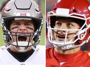 Tampa Bay Buccaneers versus the Kansas City Chiefs is (left) Tom Brady, 43, football's best-ever quarterback, versus Patrick Mahomes, 25, seemingly the only person alive that might one day challenge Brady's legacy.