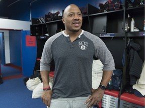 Alouettes' John Bowman speaks to reporters as players clean out their lockers in Montreal on Nov. 11, 2019.
