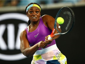 FILE PHOTO: Tennis - Australia - January 20, 2020. Sloane Stephens of the U.S. in action during the match against China's Zhang Shuai on Jan. 20, 2020, at the Australian Open in Melbourne.