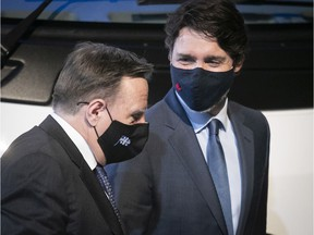 """""""We see the light at the end of the tunnel, and I can understand that citizens are fed up with the measures,"""" Premier François Legault said Monday at a press conference with Prime Minister Justin Trudeau."""