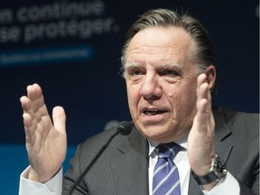 Quebec Premier François Legault speaks to the media at the COVID-19 press briefing Wednesday March 3, 2021 in Montreal.