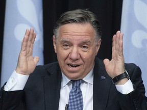 """Premier François Legault is appealing to Quebecers to remain strong. """"We're getting close to the finish line with the vaccine."""""""