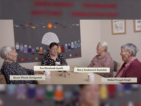 Inuit women in Nunavut record a podcast for the Kitikmeot Heritage Society as part of a campaign to protect the endangered language.