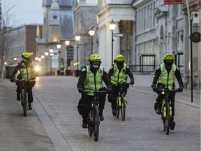 Police patrol Old Montreal just before the 8 p.m. curfew April 12, 2021.
