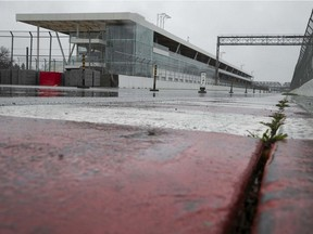 Circuit Gilles-Villeneuve is deserted on April 15, 2021, as the fate of this year's Canadian Grand Prix Formula One race, scheduled for June 13, remains uncertain.
