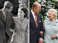 Queen Elizabeth and The Duke of Edinburgh in an undated photo take before their marriage, and in 2007, recreating the photo at Broadlands in the Hampshire to commemorate their diamond wedding anniversary.