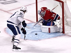 Canadiens goalie Jake Allen makes save on the Toronto Maple Leafs' John Tavares during game at the Bell Centre Monday night.