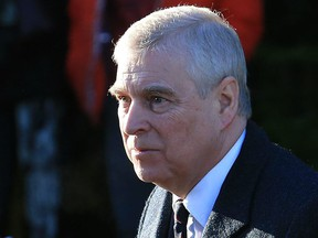In this file photo taken on Jan. 19, 2020, Britain's Prince Andrew, Duke of York, arrives to attend a church service at St Mary the Virgin Church in Hillington, Norfolk, eastern England.