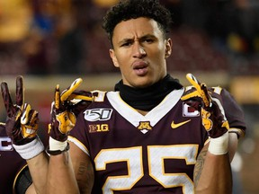 Benjamin St-Juste of the Minnesota Gophers celebrates after a win over the Nebraska Cornhuskers in Minneapolis, Oct. 12, 2019.