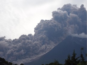 The Fuego volcano in eruption, seen from Alotenango municipality, Sacatepequez department, about 65 kilometres southwest of Guatemala City, on June 3, 2018.