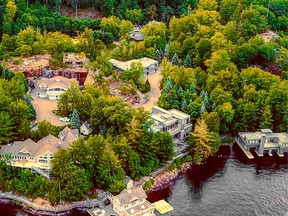 The seven-acre property listed for $24 million just outside of Port Carling, Ont., is more a mansion compound than a cottage — with two lodges, a swimming pool, home theatre and tennis court — that overlooks 629 feet of Lake Muskoka.