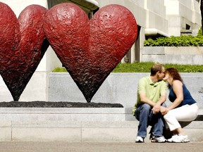 Hearts and kisses outside the Montreal Museum of Fine Arts. Canadian tax rules are clear: If you have lived in a conjugal relationship with another person for at least 12 consecutive months, you are a couple for tax purposes.